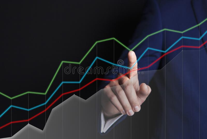 Бизнесмен и графики иллюстрация штока