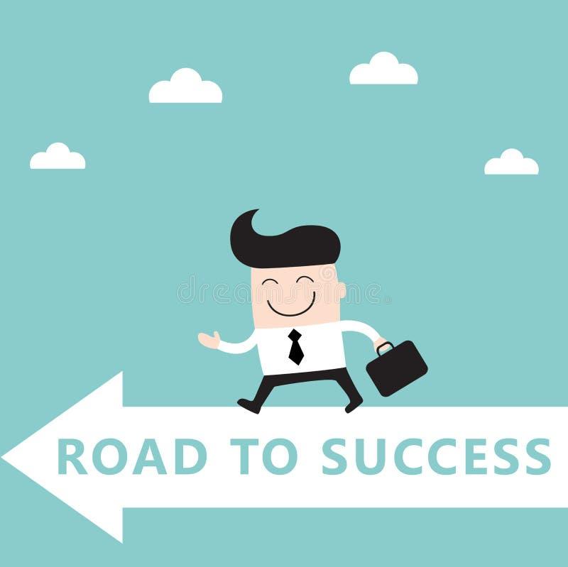 Бизнесмен идет к достижению успеха цели иллюстрация штока