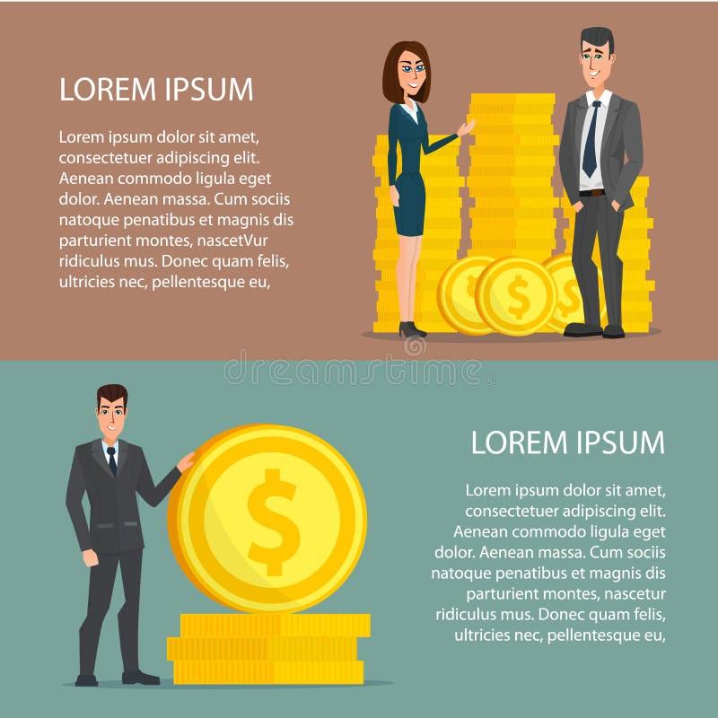 Бизнесмен и женщина гордо стоя на огромных деньгах бесплатная иллюстрация