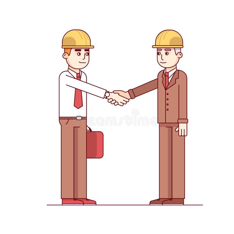 Бизнесмен и инженер стоя трясущ руки иллюстрация вектора