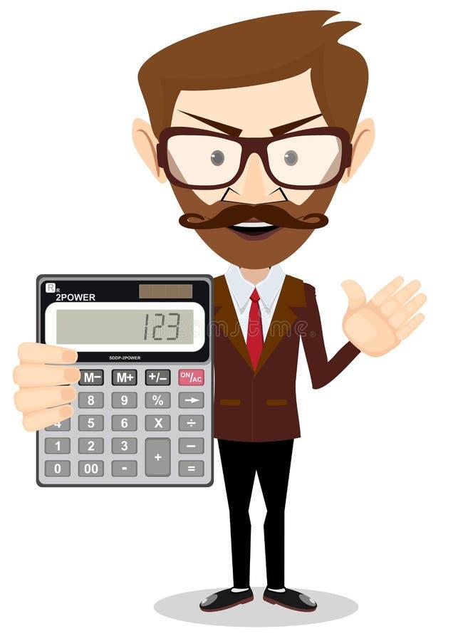 Бизнесмен или бухгалтер с калькулятором иллюстрация штока