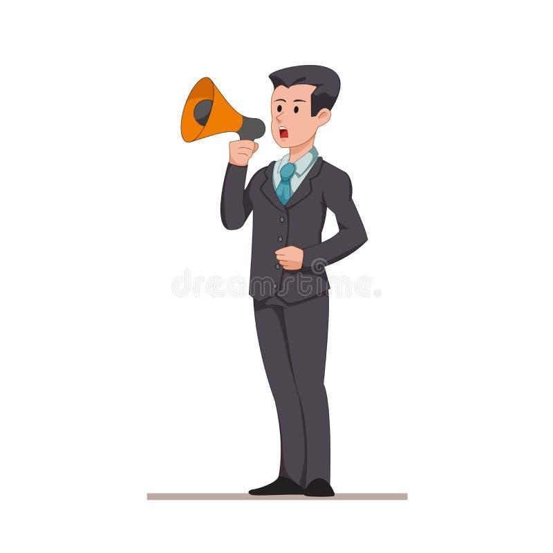 Бизнесмен или менеджер говорят к диктору Человек делает важное объявление Плоский характер изолированный на белизне иллюстрация вектора