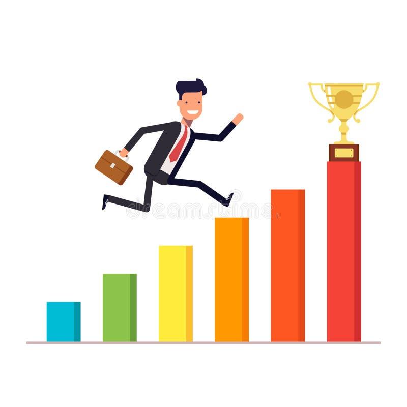 Бизнесмен или менеджер при портфель скача вверх на план-график к призовой чашке Диаграмма роста дохода вектор иллюстрация штока