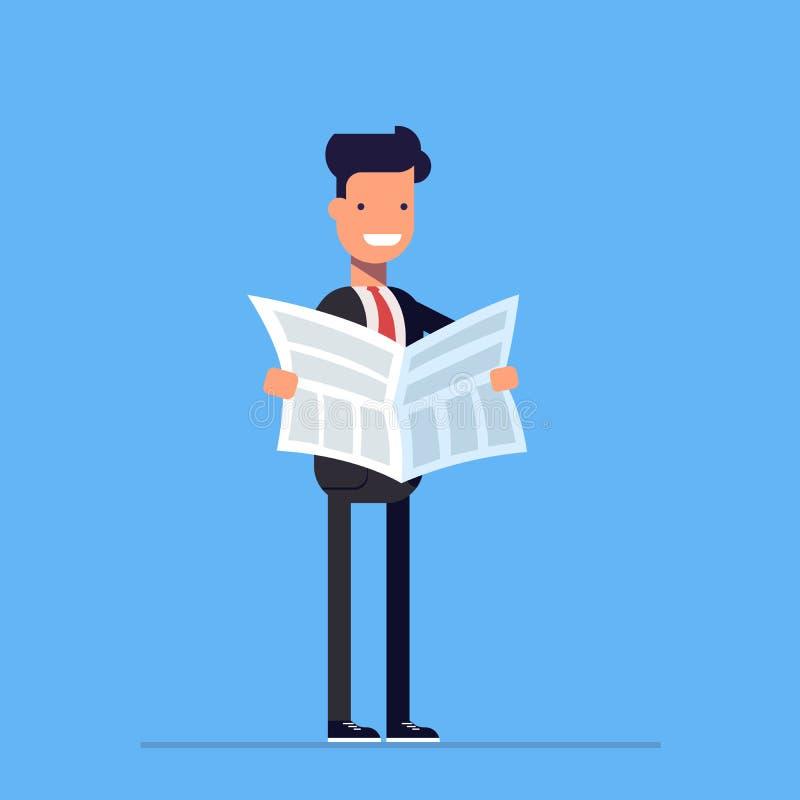 Бизнесмен или менеджер читая газету Ежедневные новости Вектор, иллюстрация EPS10 иллюстрация вектора
