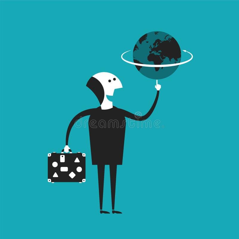 Бизнесмен или путешественник держа глобус в концепции вектора руки в плоском стиле шаржа бесплатная иллюстрация