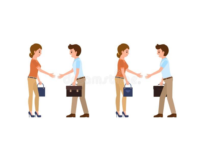 Бизнесмен и коммерсантка в вскользь офисе смотрят трясущ руки Переговоры персонажа из мультфильма иллюстрация штока