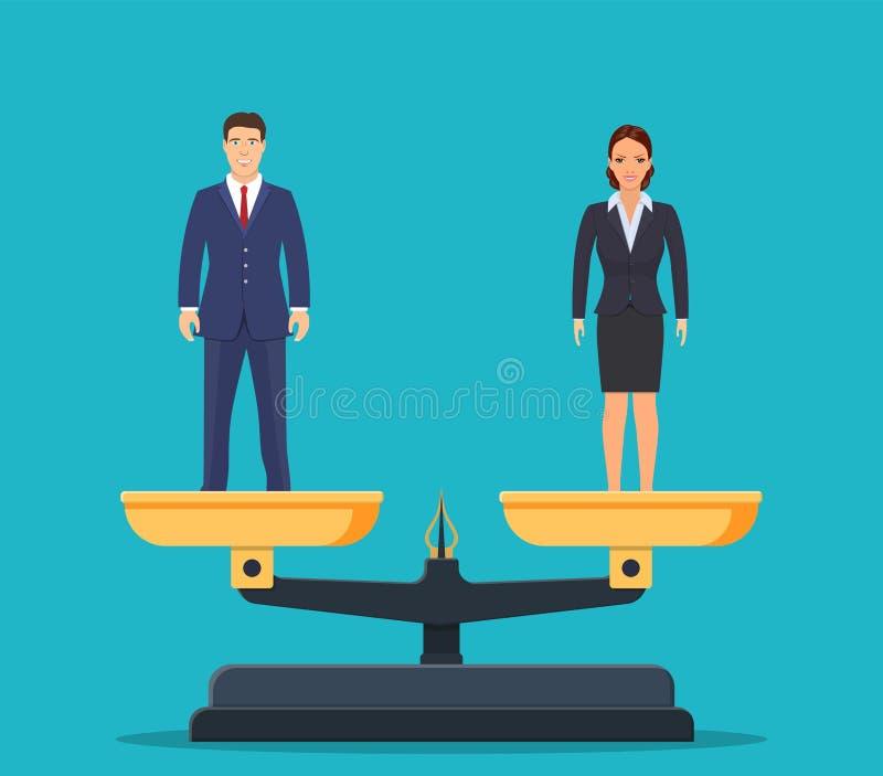 Бизнесмен и коммерсантка в масштабах иллюстрация вектора