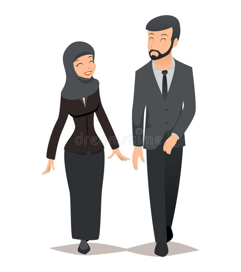 Бизнесмен и коммерсантка в традиционном мусульманском hijab Концепция вектора команды дела бесплатная иллюстрация