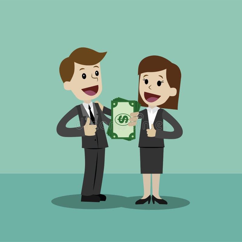 Бизнесмен и коммерсантка держат деньги в его руке и имеют выгоду Дело Succsessful компенсации иллюстрация вектора
