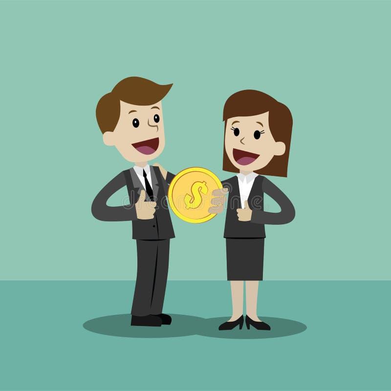 Бизнесмен и коммерсантка держат кролика в его руке и имеют выгоду Дело Succsessful компенсации иллюстрация штока