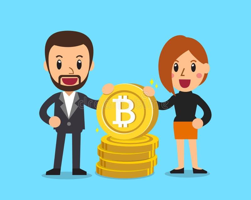 Бизнесмен и коммерсантка концепции Cryptocurrency с большим стогом монетки иллюстрация штока