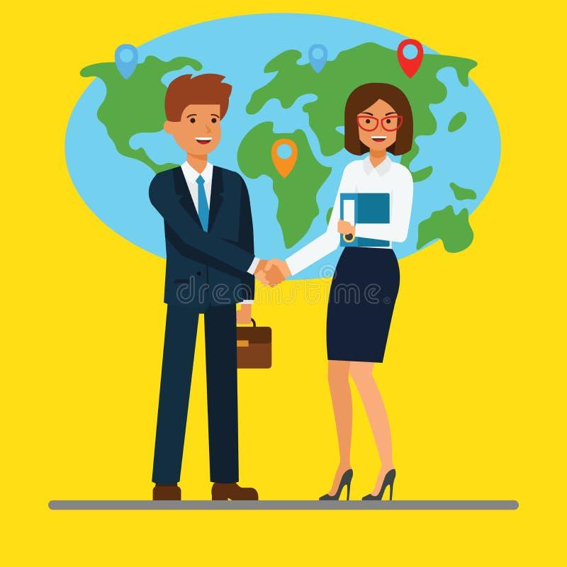 Бизнесмен и коммерсантка тряся руки перед картой вектор людей jpg иллюстрации дела плоская иллюстрация вектора концепции бесплатная иллюстрация