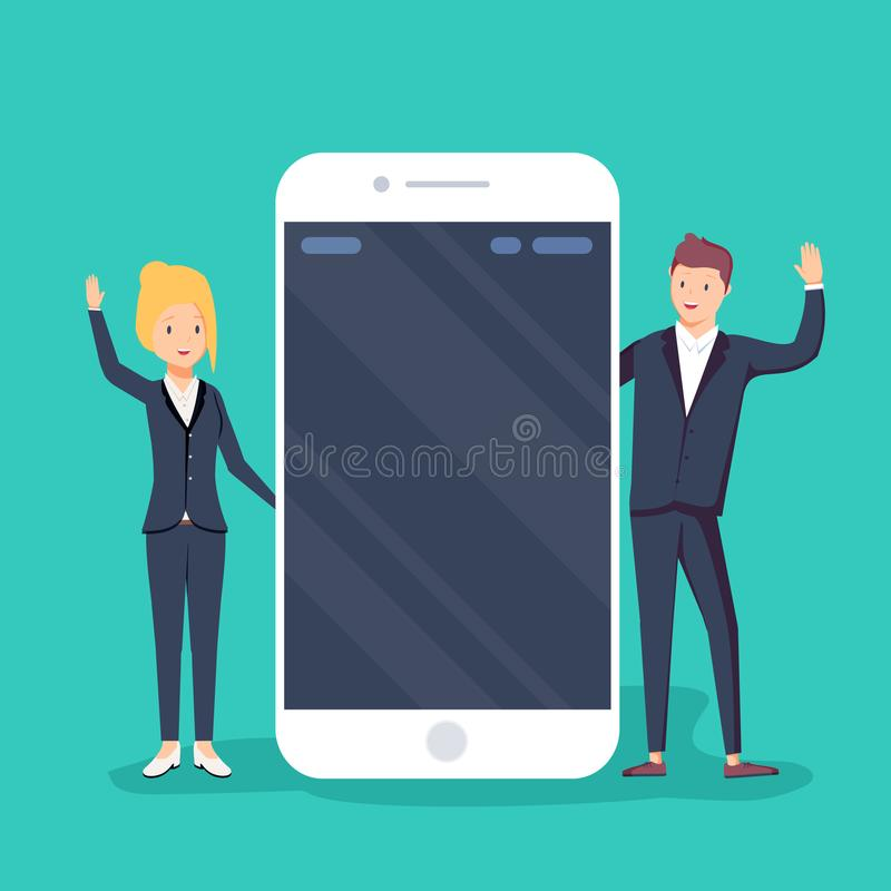 Бизнесмен и коммерсантки говоря около умного телефона с пустым экраном белизна делового сообщества изолированная принципиальной с иллюстрация вектора