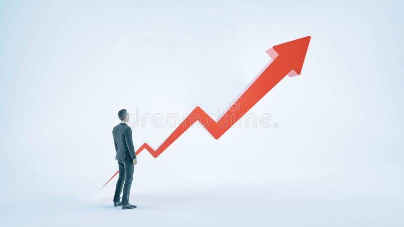Бизнесмен и красная стрелка ища вверх иллюстрация вектора