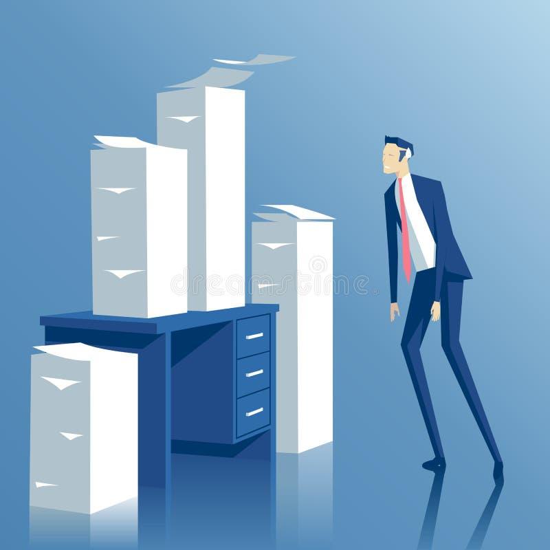 Бизнесмен и обработка документов иллюстрация вектора