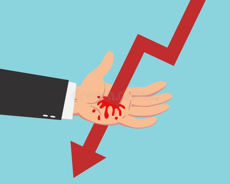 Бизнесмен и падая диаграмма бесплатная иллюстрация