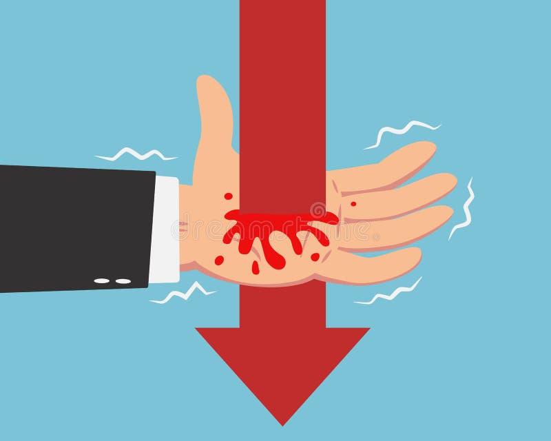 Бизнесмен и падая линия стрелки бесплатная иллюстрация