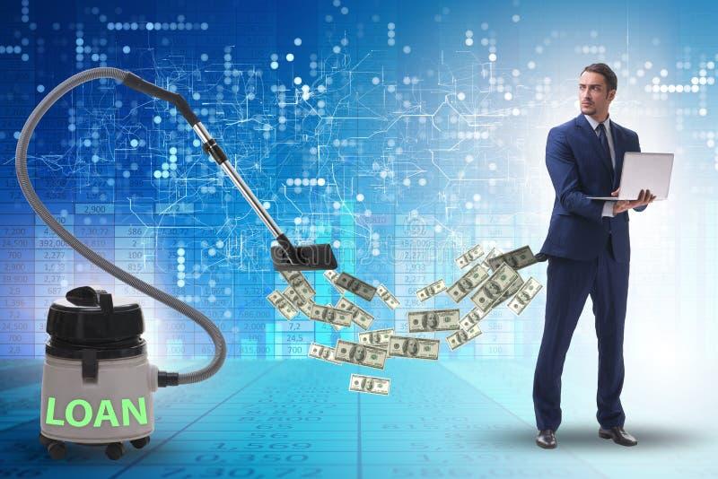 Бизнесмен и пылесос сосать деньги из его стоковые изображения
