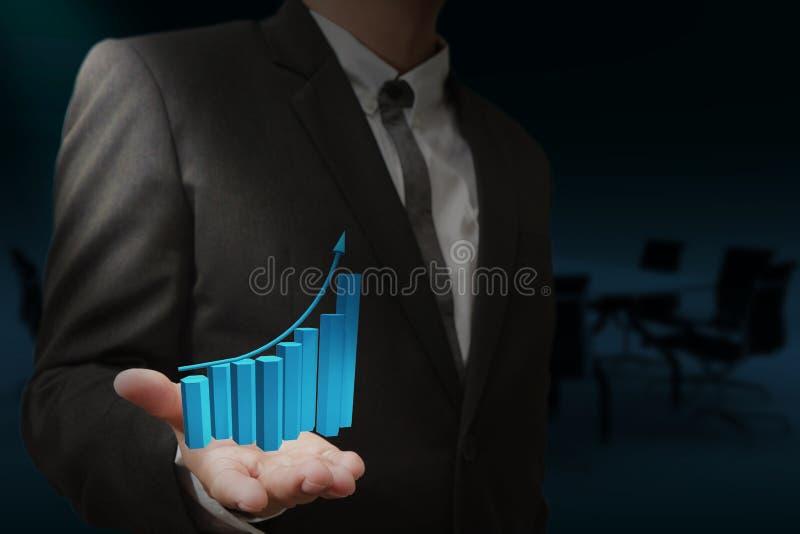 Бизнесмен и расти вверх диаграмма стоковые фото