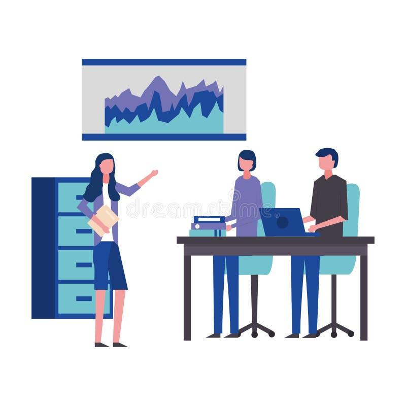 Бизнесмен и сыгранность папки офиса женщин бесплатная иллюстрация