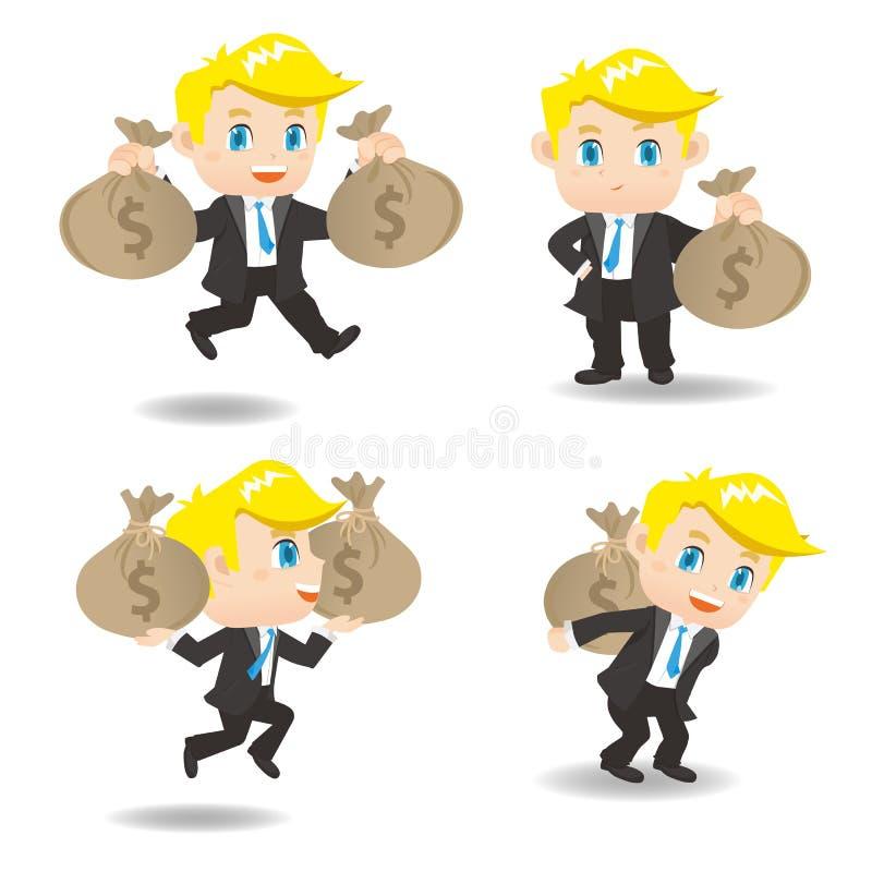 Бизнесмен иллюстрации шаржа с moneybag иллюстрация вектора