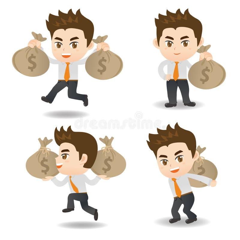 Бизнесмен иллюстрации шаржа с moneybag иллюстрация штока