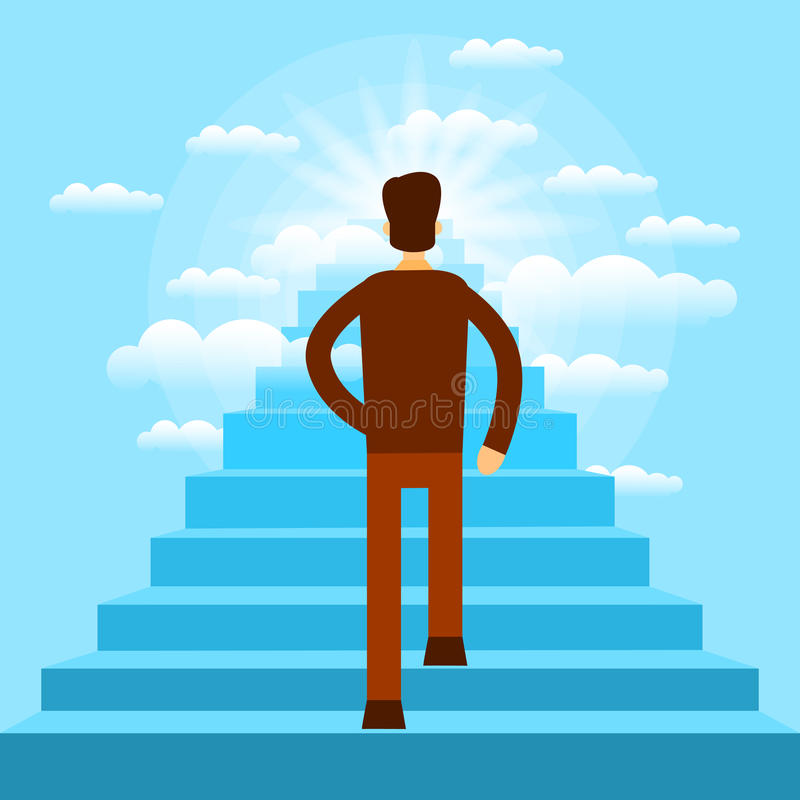 Бизнесмен идя вверх по лестницам к бизнесмену неба иллюстрация штока