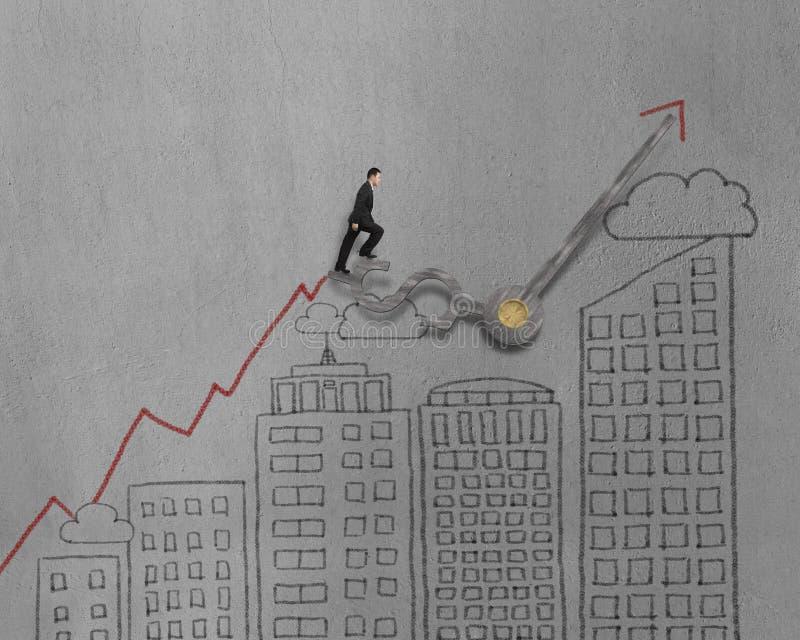 Бизнесмен идя на руки часов с современным зданием doodles бесплатная иллюстрация