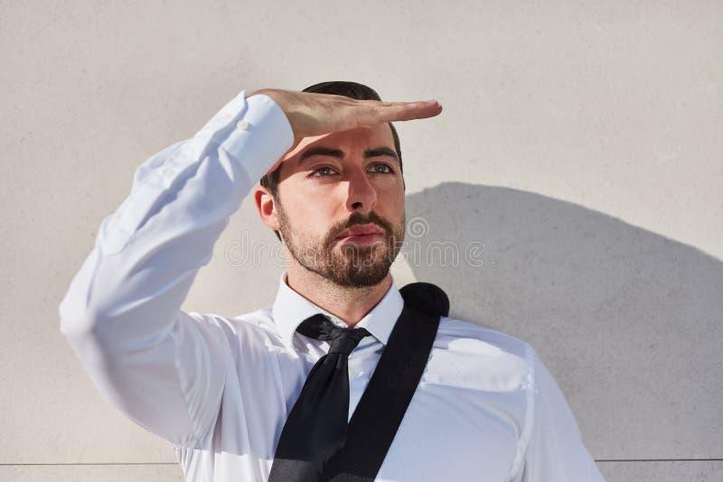 Бизнесмен как основатель имеет зрение стоковая фотография