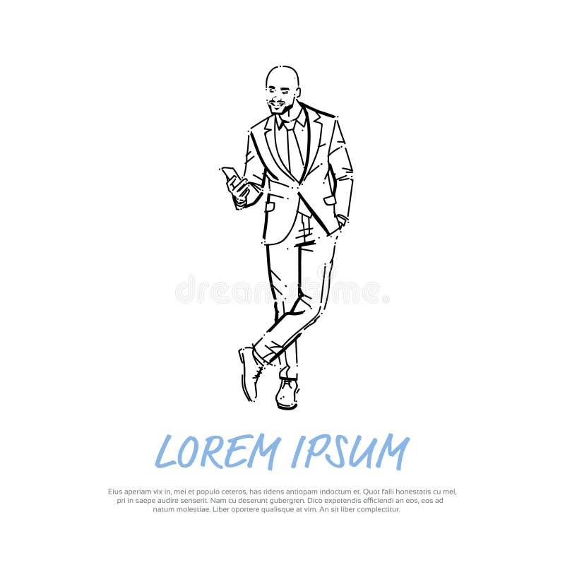 Бизнесмен концепции телефона исполнительного успешного конца бизнесмена говоря во всю длину на белой притяжке руки предпосылки иллюстрация штока
