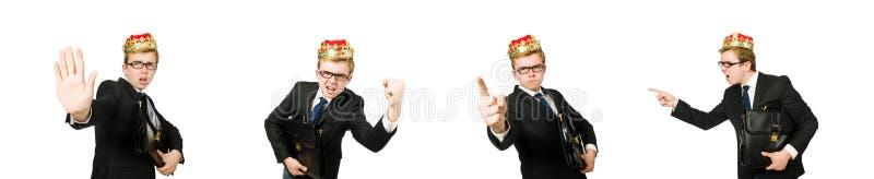 Бизнесмен короля в смешной концепции стоковое фото