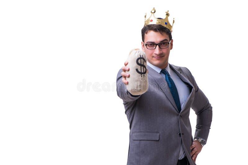Бизнесмен короля держа сумку денег изолированный на белой предпосылке стоковые фотографии rf