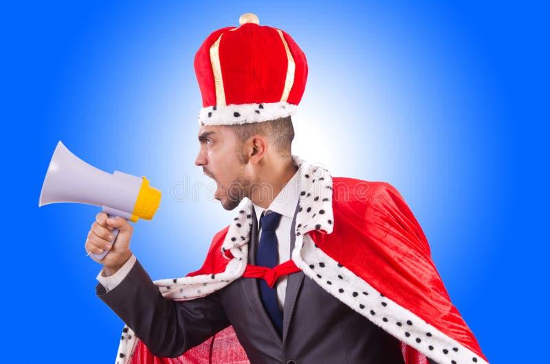 Бизнесмен короля с громкоговорителем стоковая фотография rf