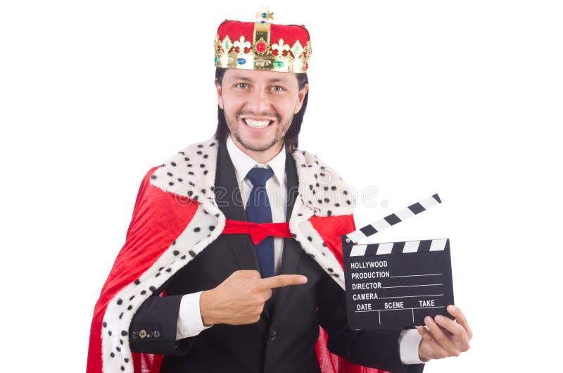 Бизнесмен короля с доской кино стоковое изображение rf