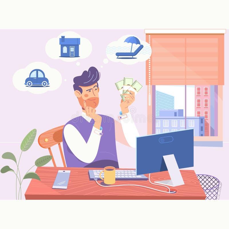 Бизнесмен который имеет трудные выборы, который нужно сделать Концепция трудных выборов бизнесмена Плоская иллюстрация вектора иллюстрация вектора
