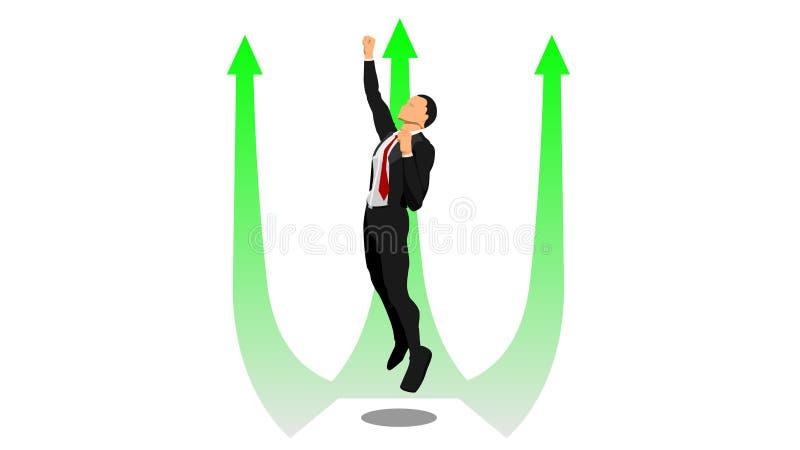 Бизнесмен летает вверх в направлении стрелки иллюстрация вектора