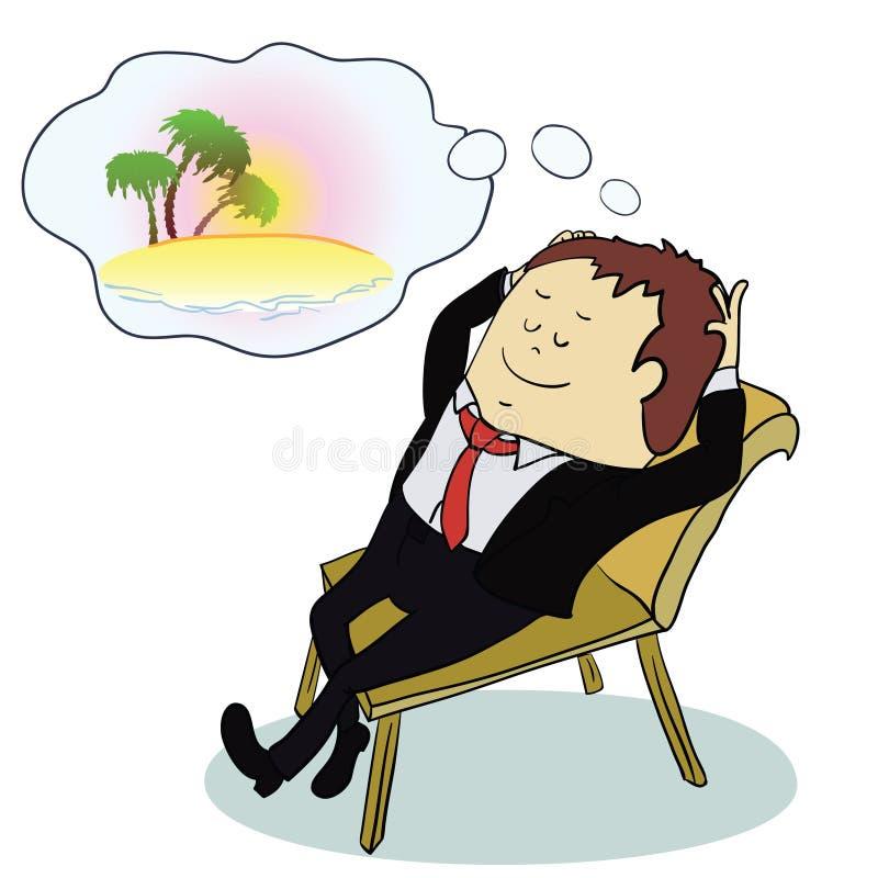 Бизнесмен мечтая о каникулах, векторе иллюстрация вектора