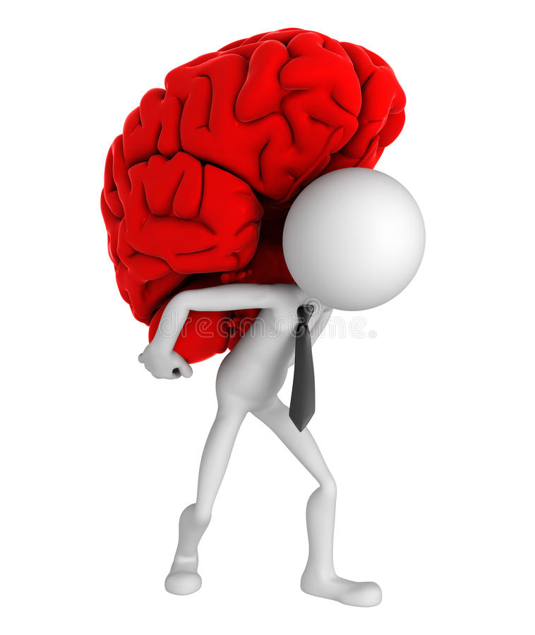 бизнесмен мозга нося его плеча иллюстрация вектора