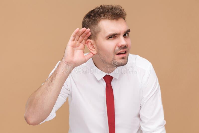 Бизнесмен надевает ` t слышит вас стоковые изображения rf