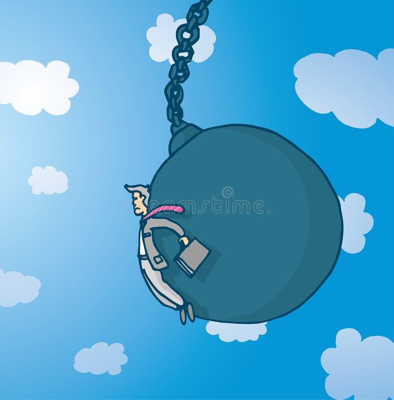 Бизнесмен нажатый гигантским разрушая шариком бесплатная иллюстрация