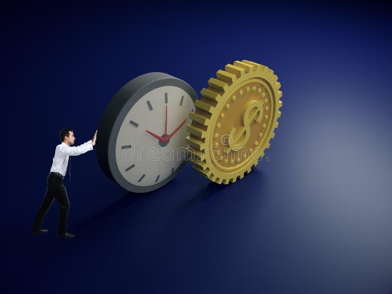Бизнесмен нажимая абстрактный доллар часов и шестерни стоковая фотография rf