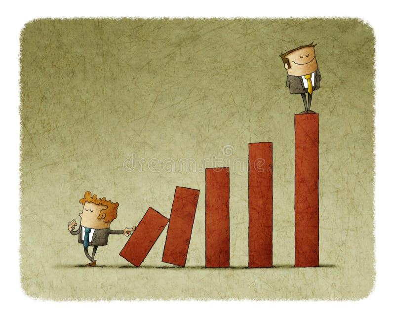 Бизнесмен нажимая лестницу carreer с другим человеком на верхней части иллюстрация штока