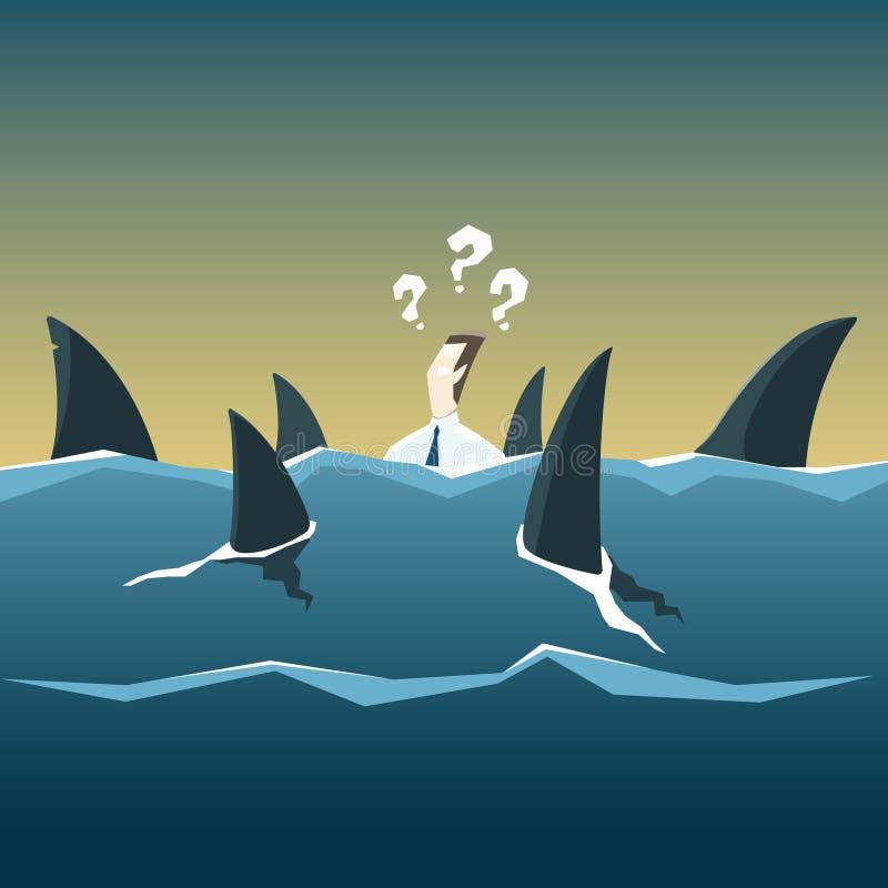 Бизнесмен нападения акул который тонет в море Ребро вектора иллюстрация вектора
