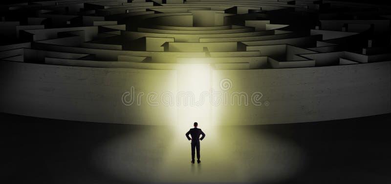 Бизнесмен начиная концентрический лабиринт бесплатная иллюстрация