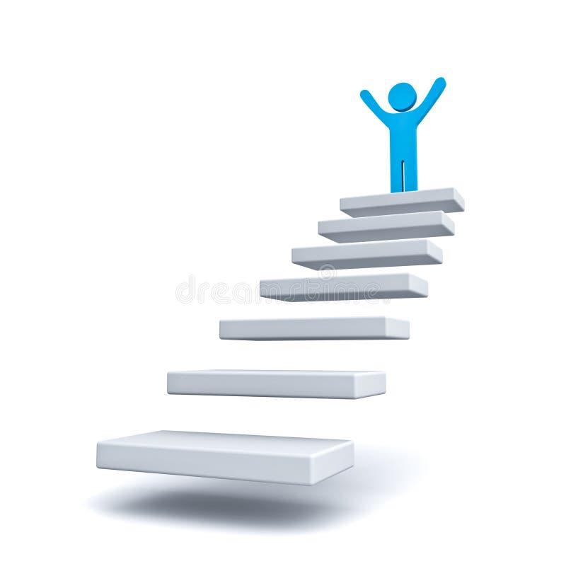 Бизнесмен на верхней части шагов или лестницы над белизной иллюстрация штока