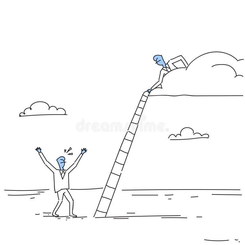 Бизнесмен на лестницах лестницы владением облака для того чтобы взобраться вверх Doodle концепции сотрудничества команды иллюстрация штока