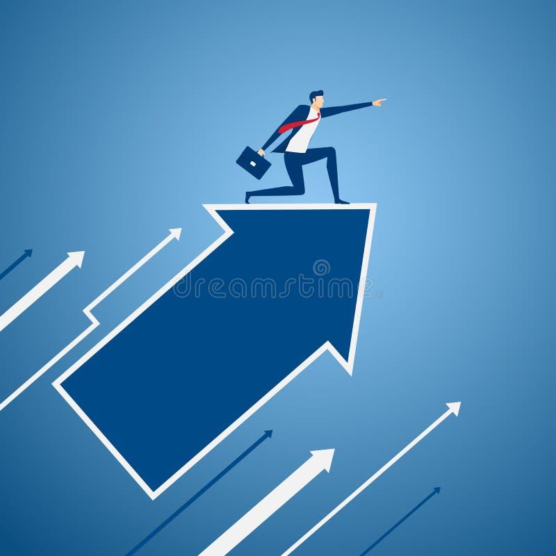 Бизнесмен на диаграмме стрелки роста указывая палец и ища успех, возможности, будущее дело отклоняет рука принципиальной схемы ко иллюстрация вектора