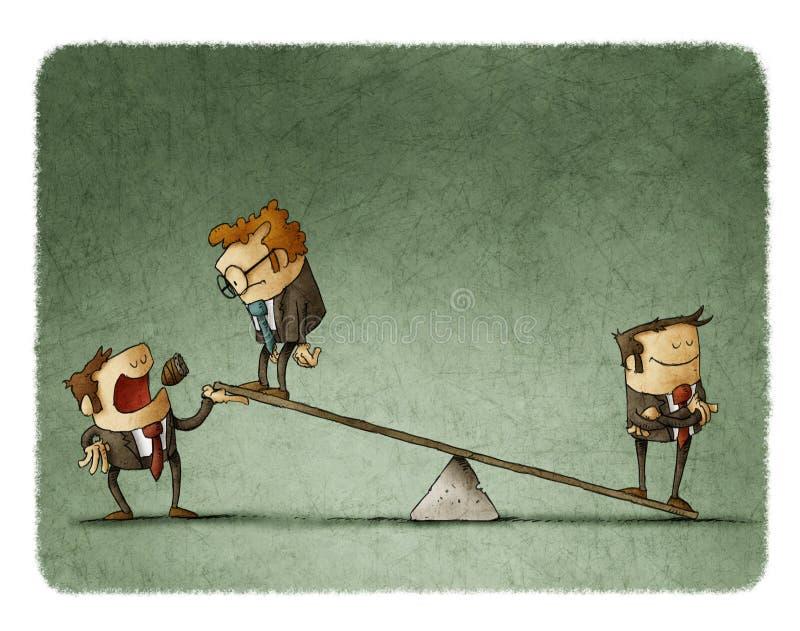Бизнесмен на масштабах перевешивает другого бизнесмена иллюстрация вектора