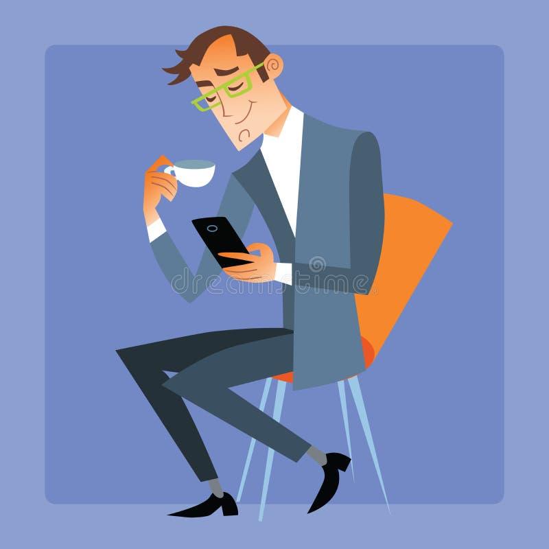 Бизнесмен на чае или кофе чайки читает сообщение на вашем p иллюстрация вектора