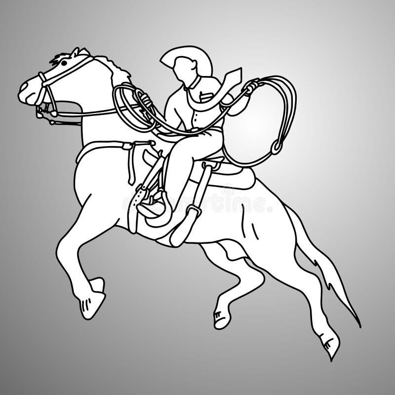 Бизнесмен на bucking лошади бежать с illustrat вектора лассо бесплатная иллюстрация